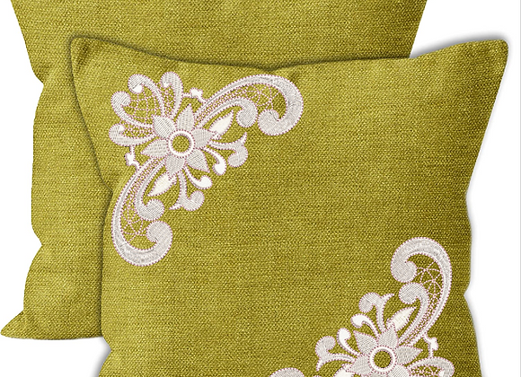 Cushion Cover-Lace Corner Machine Embroidered design