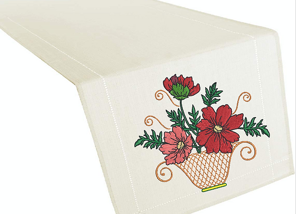 Table Runner Machine Embroidered Summer Garden design