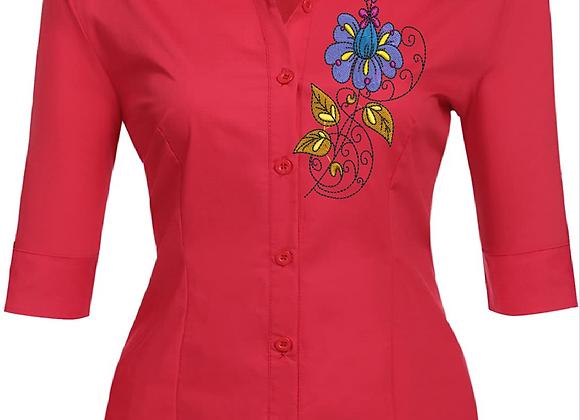 Woman blouse Machine Embroidered -Flower & Twirls design.