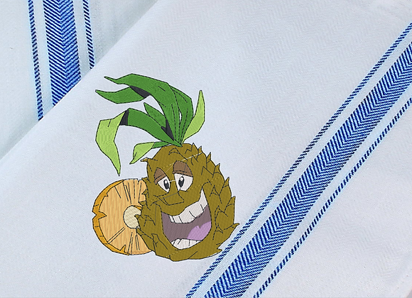Tea Towel Machine Embroidery-Pineapple design