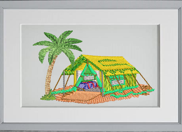 African  Machine Embroidered village Art