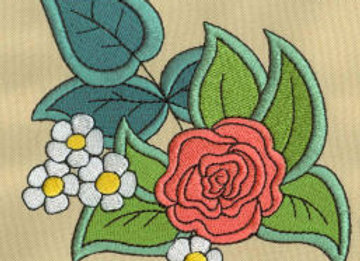 Rose & Strawberry Flowers Machine Embroidery