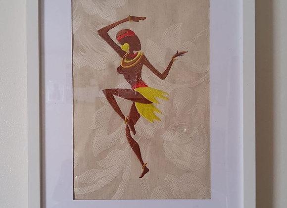 Beautiful African Dancing girl Machine Embroidered Art Portrait