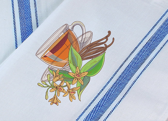 Kitchen Towel Machine Embroider of Fruit Tea