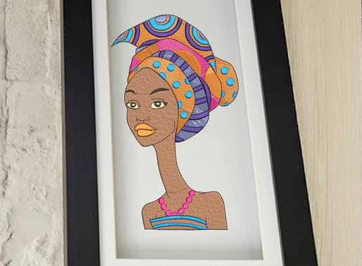 Beautiful African Silhouette Women  Machine Embroidery Deigns.