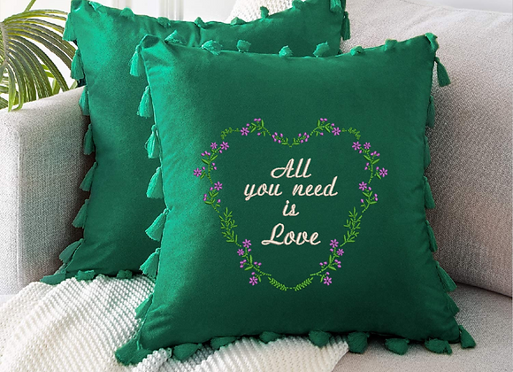 Embroidered Flower heart of Love Cushion cover