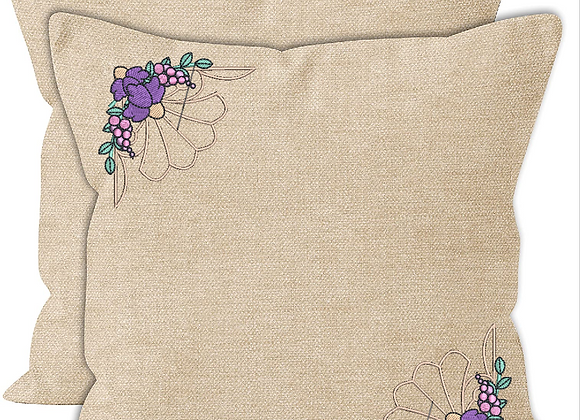 Cushion Cover-Flower Corner n´ Borders Machine Embroidered design