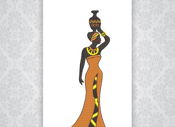 Wall Canvas Portrait Machine EmbroideredAfrican lady design,