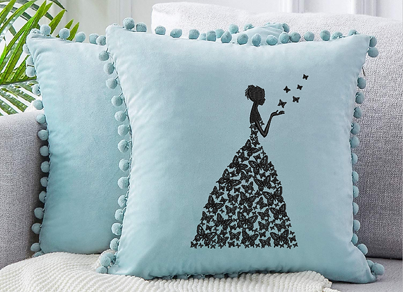 Machine Embroidered Cushion Covers  butterfly lady