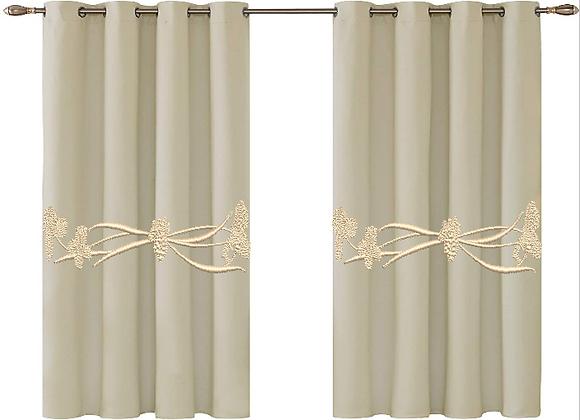 Machine Embroidered Curtain -Iris Border