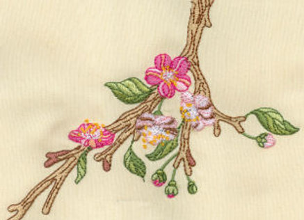 Machine Embroidered  of Apple Blossoms