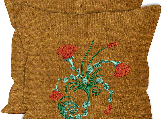 Cushion cover Machine Embroidered Flower Twirls design