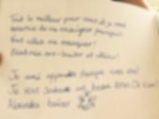Bath French Spanish Tutor. Hand written children's note in French