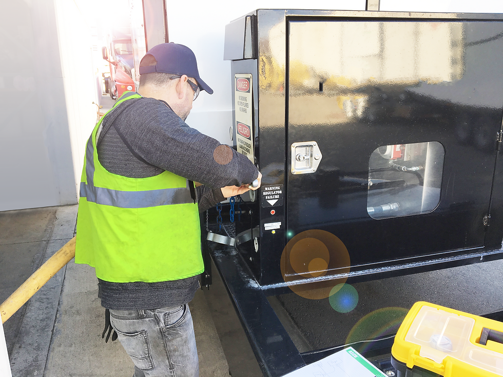Generator Services Technician Fixes a Commercial Generator for Back Up Power