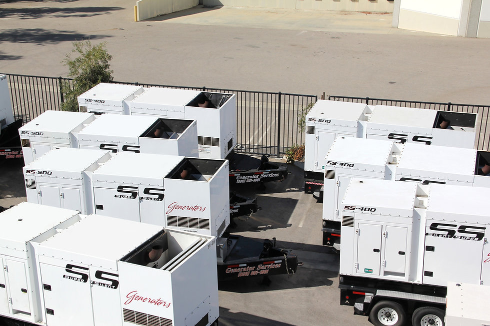 Rental Fleet of industrial sized generators for generator services serving all of california