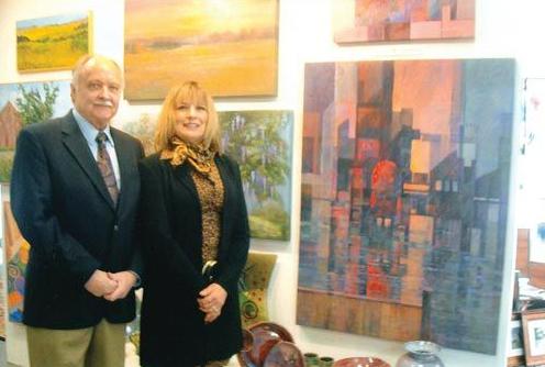 Local Art Teacher Lance Balderson, with William Ris Gallery art director Mary S. Cantone