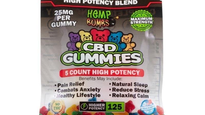 Hemp Bombs - 5 Count CBD High Potency Gummies Bag (125mg) Complete Tranquility