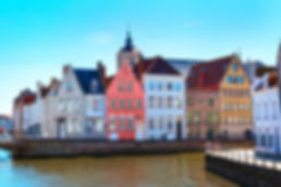 Panorama with canal and colorful traditi