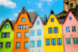 Colored Houses in Cologne as postcard.jp
