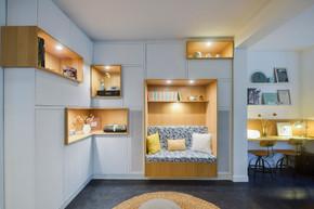 bibliothèque-banquette-placards-tiroirs-hifi-conception-création-fabrication-agencement-aménagement-mobilier-meuble-sur-mesure-blanc-mélaminé-chêne-bois-niches-architecture-intérieur-moderne-design-contemporain-Paris-Nantes-maison-salon-tapis-lumière-spots-jdds-julien-devaux-designer-caissons