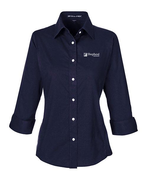 Devon & Jones Ladies' Perfect Fit 3/4 Sleeve Stretch Poplin Blouse (SI-DP625W)