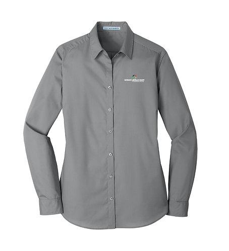 PA Ladies' Carefree Poplin L/S Shirt (LLH-LW100)