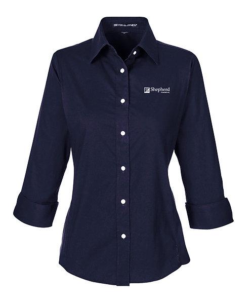 Devon & Jones Ladies' Perfect Fit 3/4 Sleeve Stretch Poplin Blouse (SF-DP625W)