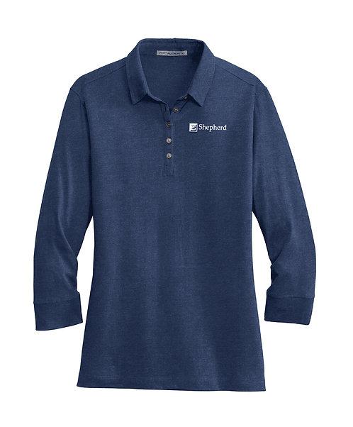PA Ladies 3/4-Sleeve Meridian Cotton Blend Polo (S-L578)