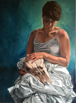 Maggie with skull (Pondering Death) finished