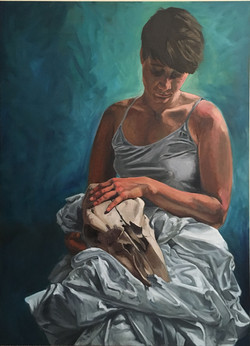 Maggie with skull