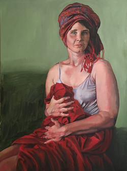 Maggie with red scarf