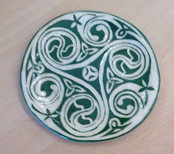 celtic plate sgraffito