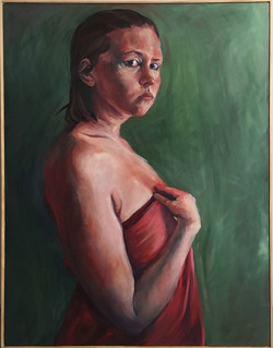 Self Portrait in red and green