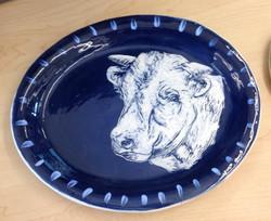 cow plate sgraffito