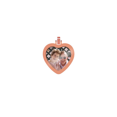 Small Heart 2.6mm Wide Gold Custom Picture Pendant