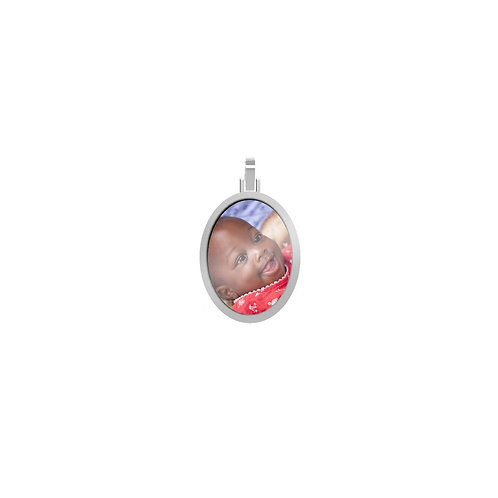 Small Oval 1.7mm Wide Silver Custom Picture
