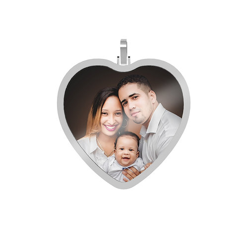 X-Large Heart 2.6mm Wide Silver Custom Picture