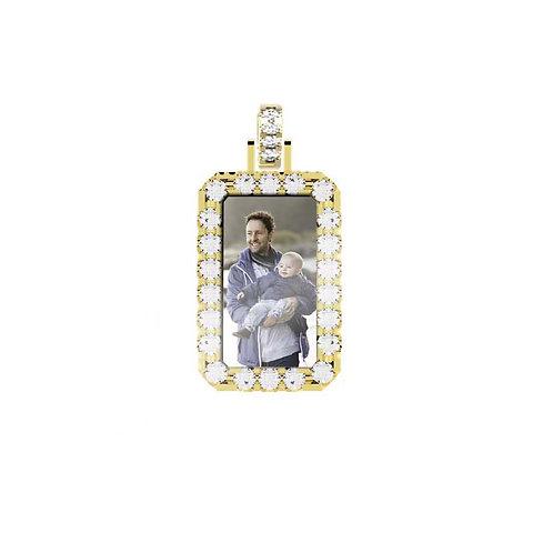 Small Gold Custom 2.6mm wide Diamond Picture Pendant