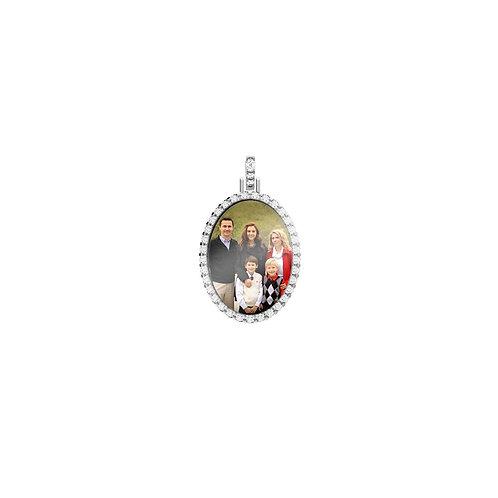 Small Silver Custom Birthstone Cubic Zirconia Picture Pendant