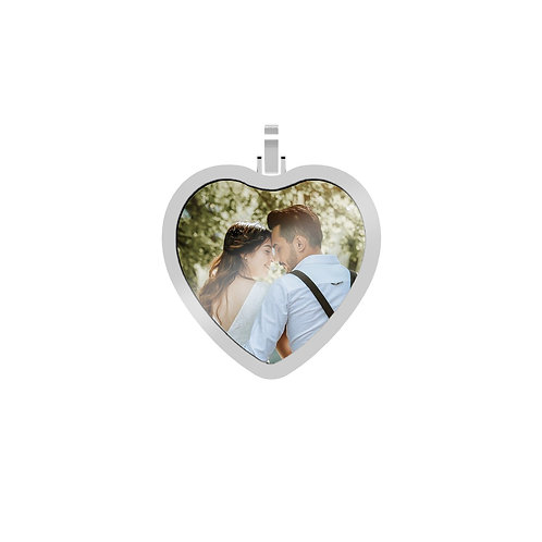 Large Heart 2.6mm Wide Silver Custom Picture