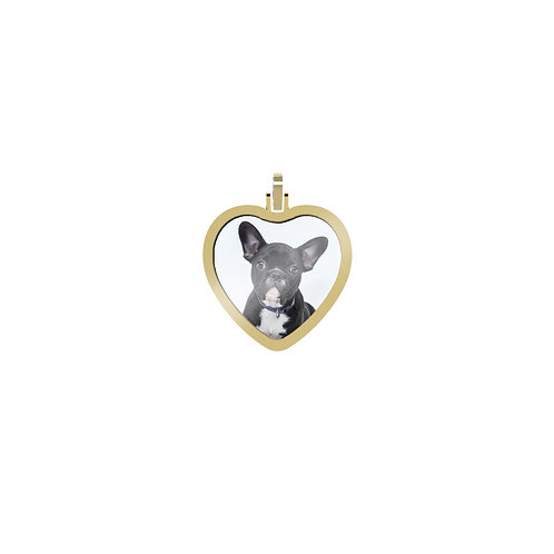 Small Heart 1.7mm Wide Gold Custom Picture Pendant