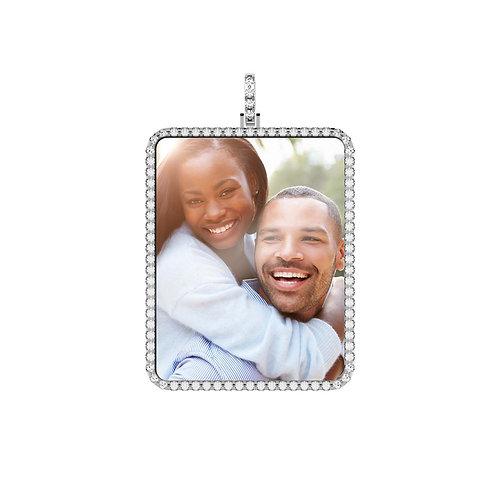 X-Large Silver Custom Birthstone Cubic Zirconia Picture Pendant
