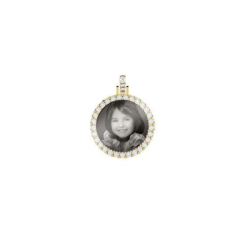 Small Gold Custom 2.3mm wide Diamond Picture Pendant