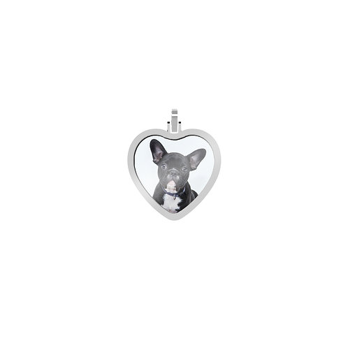 Small Heart 1.7mm Wide Silver Custom Picture Pendant
