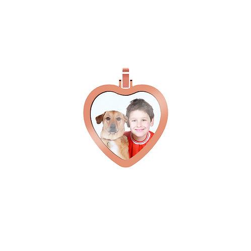 Medium Heart 2.6mm Wide Gold Custom Picture Pendant