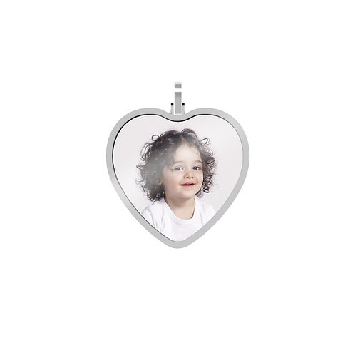 Large Heart 1.7mm Wide Silver Custom Picture