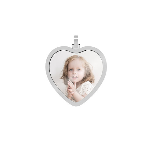 Large Heart 2.3mm Wide Silver Custom Picture