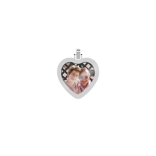 Small Heart 2.6mm Wide Silver Custom Picture Pendant