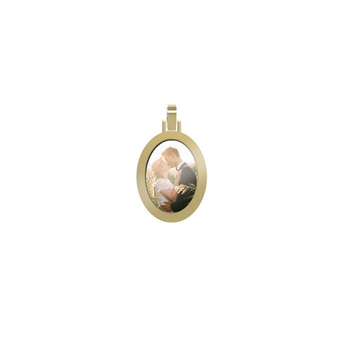 Small Oval 2.3mm Wide Gold Custom Picture Pendant