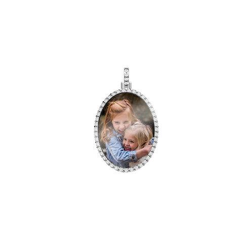 Medium Silver Custom Birthstone Cubic Zirconia Picture Pendant